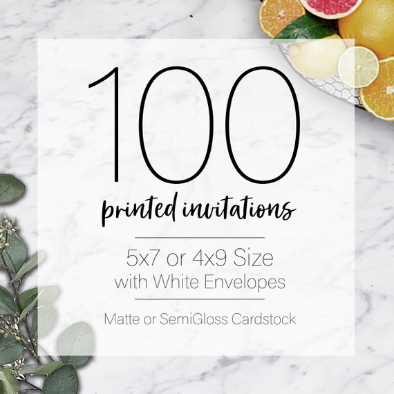 invitation printing 100 custom 5x7 or 4x9 print service fast etsy