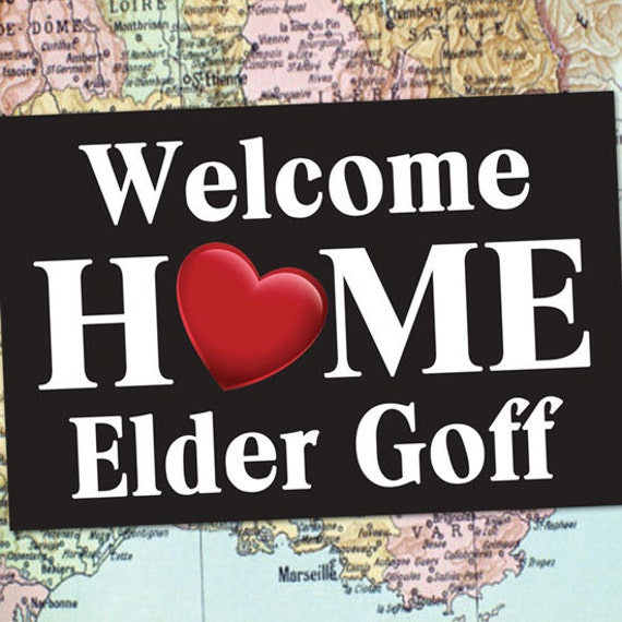 printed welcome home banner 2x3 with grommets lds