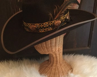 Western Hat Corduroy with brown /& cream band and feathers