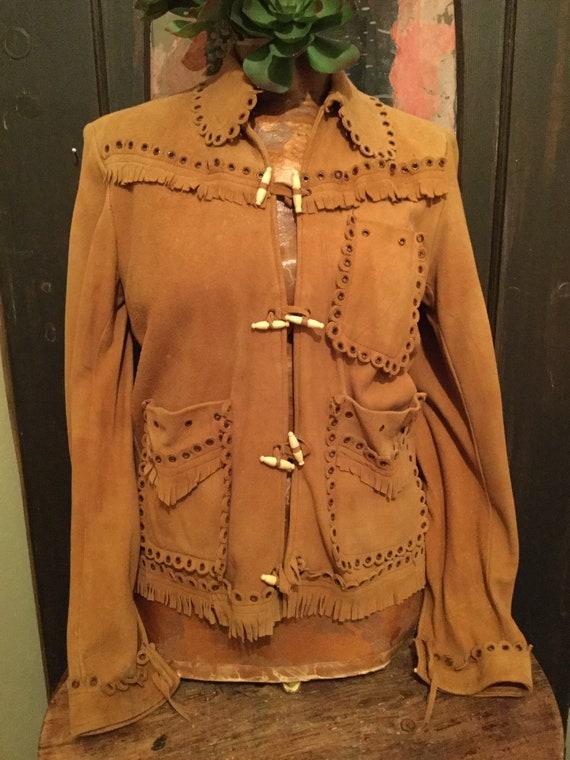 Vintage fringed leather jacket, unique details, co