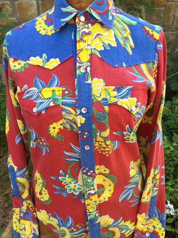 d317817d0 ON SALE Vintage pearl snap western style shirt Hawaiian