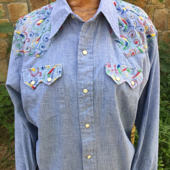 70s Embroidered Chambray western pearl snap shirt,