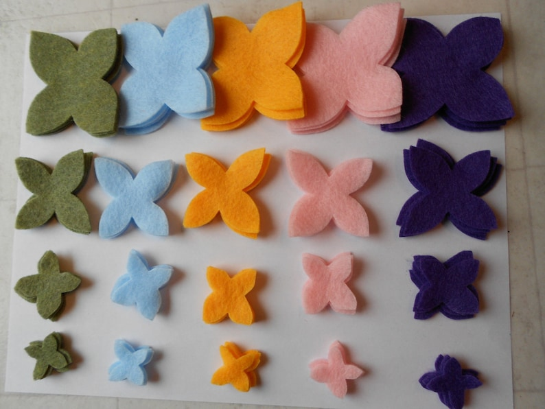 light pink purple 80 pieces spring muted colors die cut felt flower pieces mossy green light blue yellow