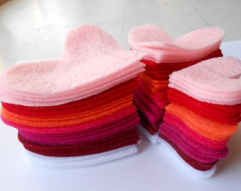 84 die cut out felt heart pieces- 7 colors, 3 sizes, 4 of each.  felt hearts felt crafts valentines day