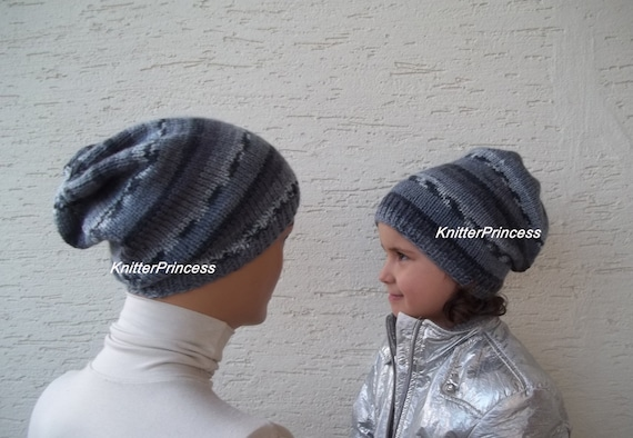 Slouchy hat knitting father-son beanies mens slouchy beret  b953956ae2b