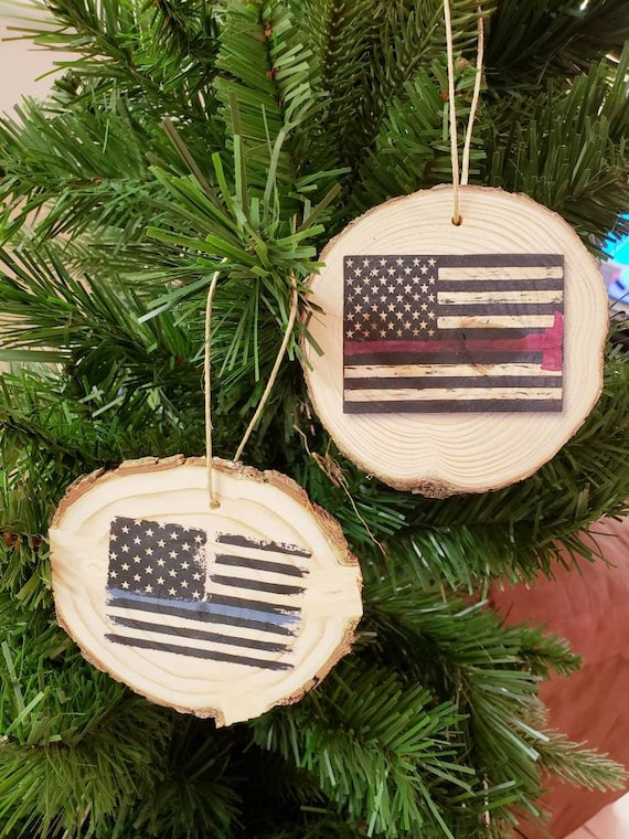 Christmas tree ornaments wood slices Firefighter Police Officer ornament  tree bark holiday decor burlap personalized name thin blue line red - Christmas Tree Ornaments Wood Slices Firefighter Police Etsy