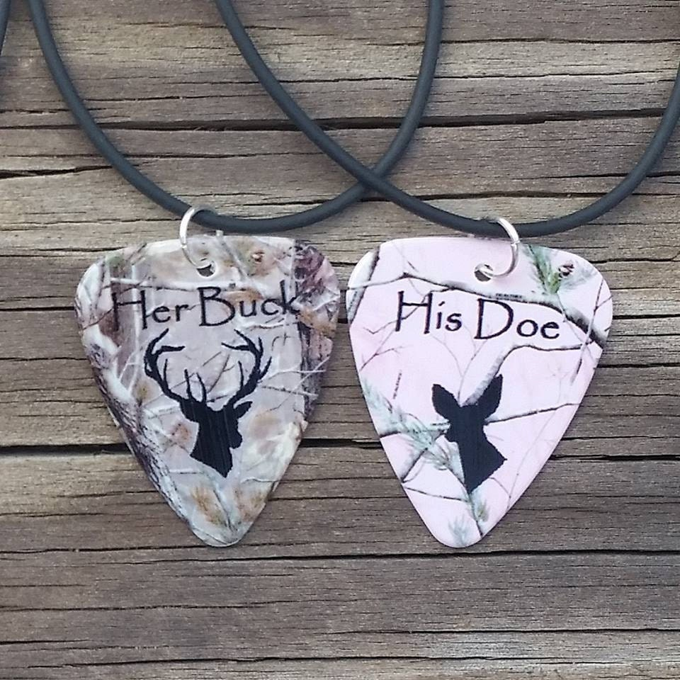 Her Buck His Doe Necklaces Guitar Pick Matching For Couples Etsy