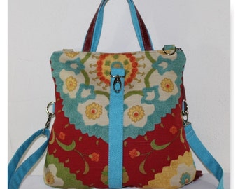 Clearance Bright Blue Red Damask Handbag/ Fold over Cross body Bag