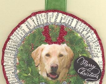 Golden Retriever Dog Christmas Ornament vintage style