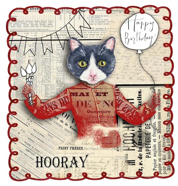 c4ff2109a219a Happy Birthday Card Happy Birthday Cat Card Kitty Card