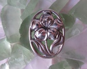 Broach Art Nouveau silver Floral Pin Hat Pin vintage jewelry