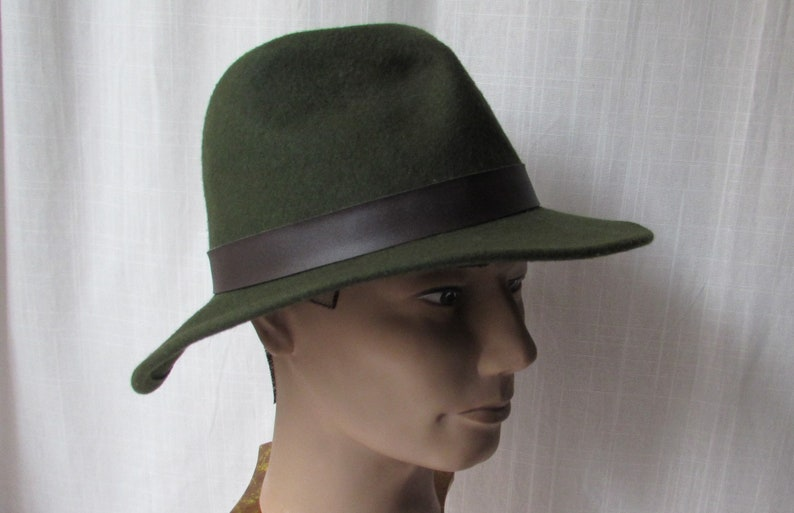 Green Wool Fedora Unisex HAT outback style winter