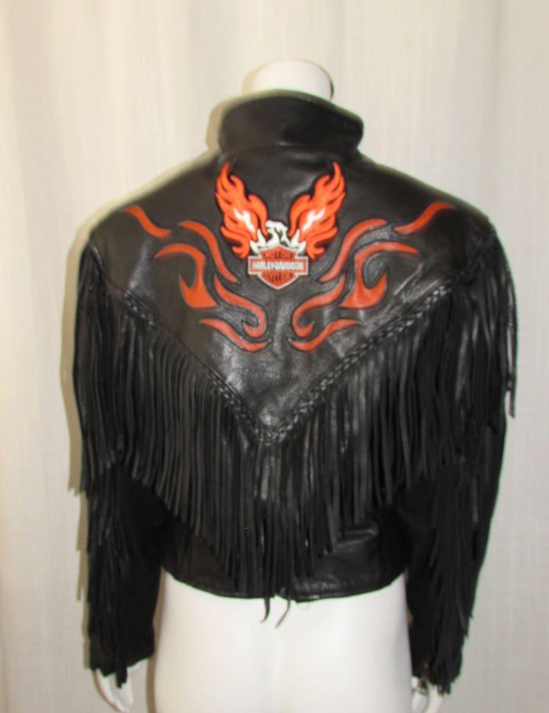 Harley Davidson Black Fringed Leather Jacket Orange detail size S