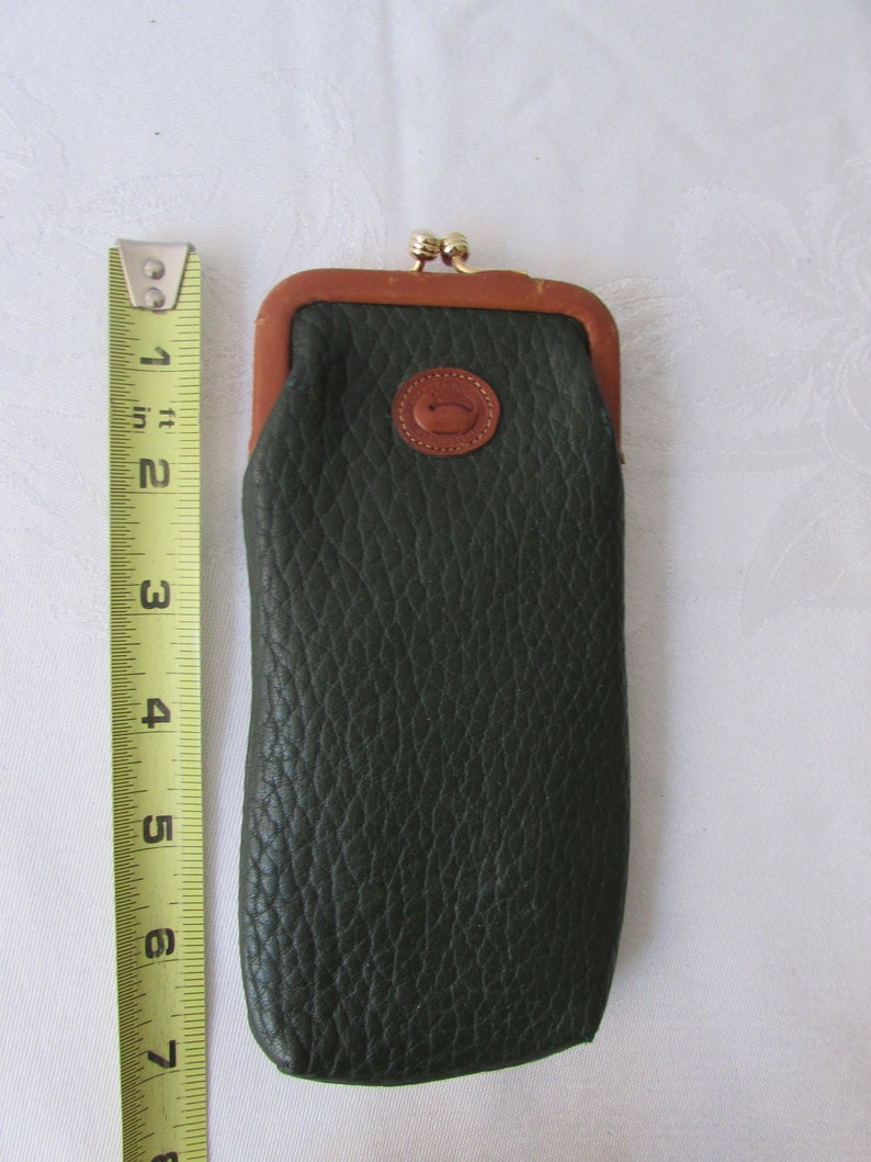 Eyeglass Case Dooney & Bourke Leather retro 1990 Green Brown Classic style