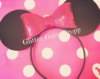 Minnie Mouse Hot Pink Sequin Bow Headband for Children to Adult
