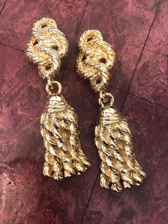 1980s/90s Vintage Heavy GOLD Plated TASSEL Earring