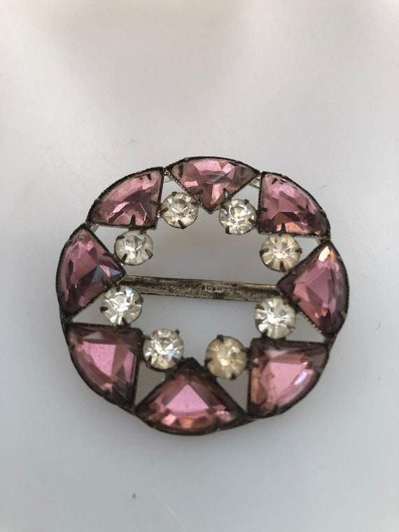 1920s/30s Vintage VAUXHALL Style GLASS BUCKLE Purp