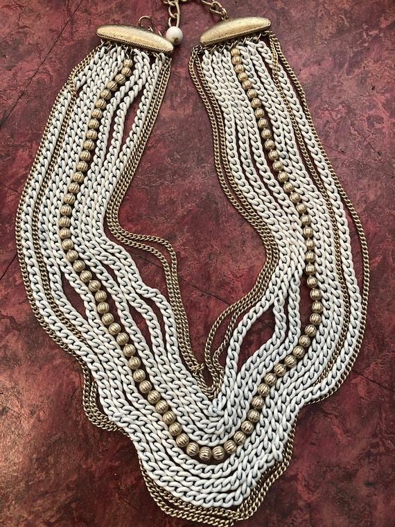 1960s Vintage MULTI-STRAND Chain Necklace 11 Stran