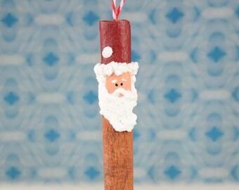 Santa Ornament,  Santa Cinnamon Stick Snowman Ornament, Primitive Santa Cinnamon Stick Snowman Ornament