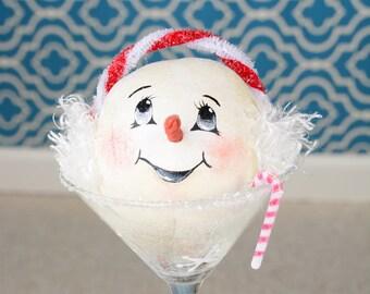 Snowtini, Snowman in Martini Glass, Whimsical Snowwoman in Martini Glass