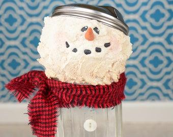 Vintage Sugar Shaker Snowman, Sugar Shaker Snowman, Whimsical Sugar Shaker Snowman, Recycled Snowman, Recycled Snowmen