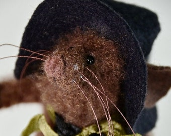 Whimsical Handmade Mouse | Witch Mouse on Vintage Silver Sugar Bowl | Mouse Pin Keep