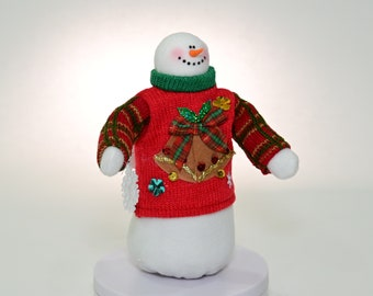 Whimsical Snowman, Whimsical Snowman Holding Snowflake, Sweater Wearing Snowman, Tacky Christmas Sweater Snowman