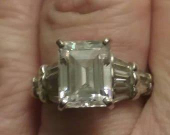 Vintage Engagement Ring, Vintage Cathedral Set Engagement Ring,  Emerald Cut Engagement Ring