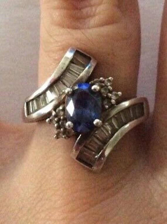 Vintage Faux Sapphire Ring, Vintage Ceylon Sapphir