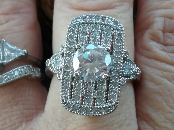 Art Deco Ring, Old European Cut Ring, Right Hand R