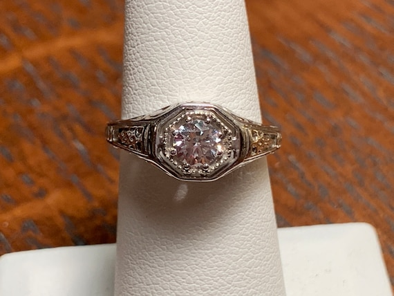 Edwardian Style Engagement Ring, Filigree Engageme