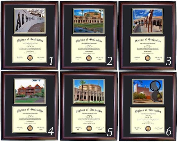 Cherry, Walnut Arizona State Diploma Frame with photo and wood frame