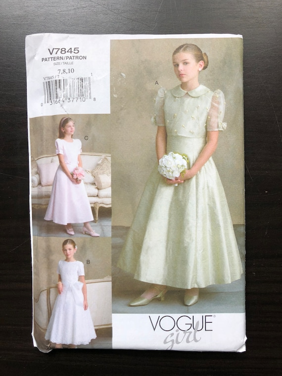 Vogue v7845 Formal Recital Flower Girl First Communion Dress | Etsy