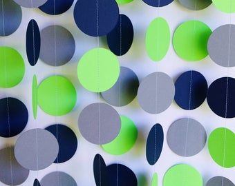 Items similar to Lime Green/Navy/White Paper Garland; Lime ...