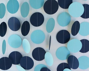 Pastel Blue And Navy Paper Garland Boys Birthday Party Baby Shower Decor Decoration Decorations