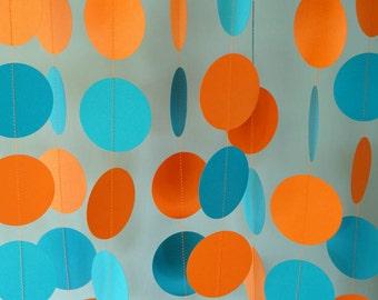 Beachy Orange and Blue Paper Garland, Birthday Party Decorations, Orange Aqua Blue Baby Shower, 10 ft. long