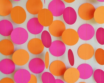 Hot Pink and Orange Paper Garland, Girl's Birthday Decor, Pink & Orange Photo Backdrop, Baby Girl's First Birthday Party, 10 ft. long