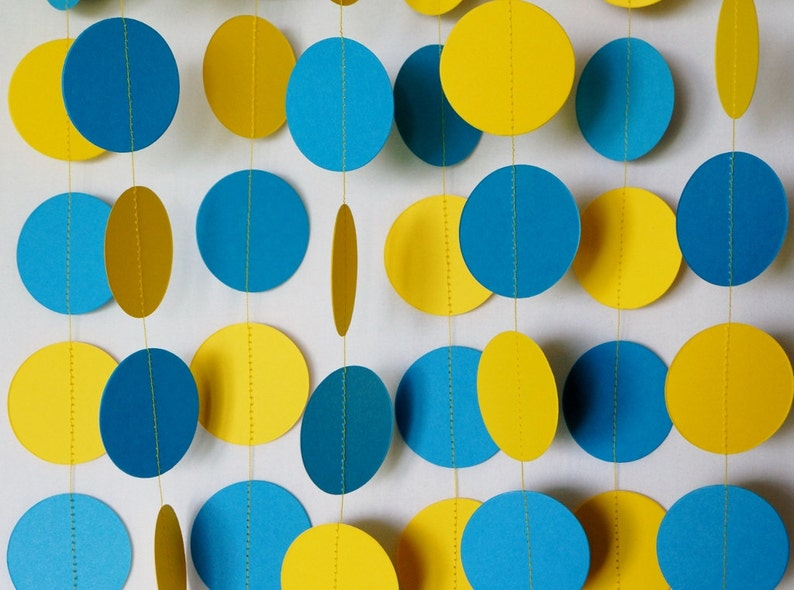 Blue And Yellow Garland Birthday Decorations Fathers Day Etsy