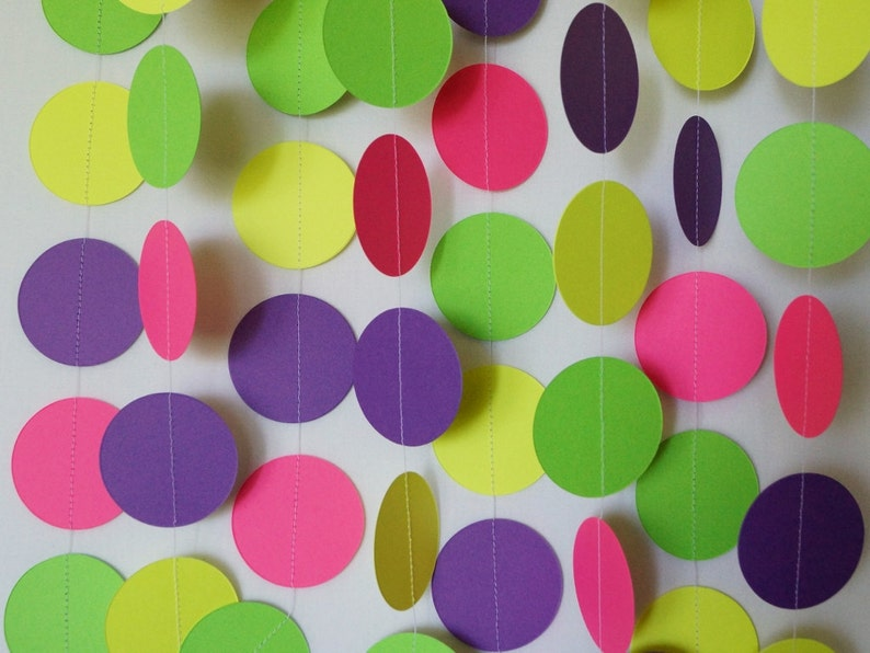 Girl S Birthday Decoration Bright Paper Garland Colorful Etsy