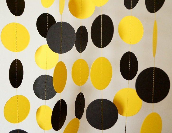 Black And Yellow Paper Garland Graduation Decorations Bumble Etsy