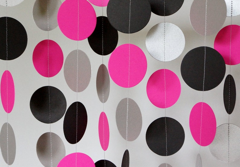Hot Pink Black Silver Party Decoration Hot Pink Paper Etsy
