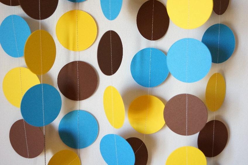 Birthday Decorations Blue Yellow Brown Garland Baby Etsy