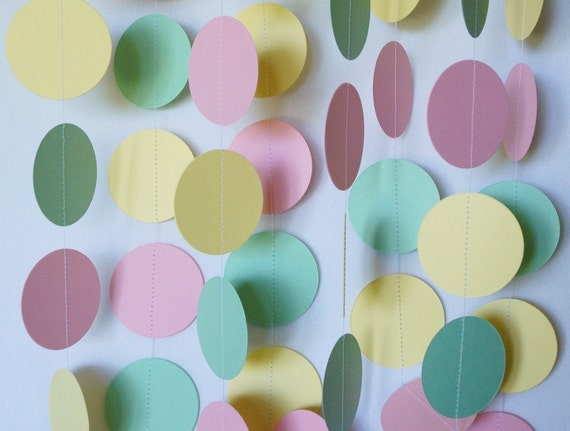 Baby Shower Decorations Pink Mint Yellow Garland Pastel Etsy