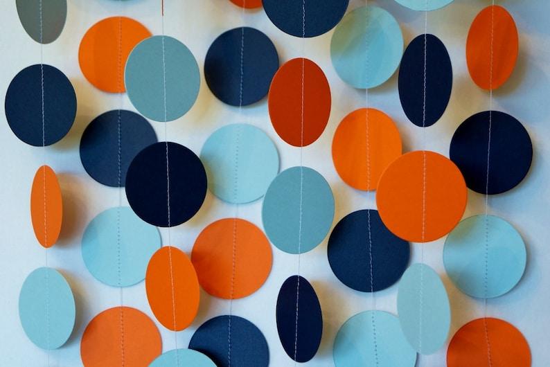 Orange Blue Navy Garland Baby Shower Decor