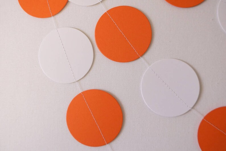 Orange Polka Dot Party Orange Baby Shower Decor Orange White Graduation Decorations Orange /& White Paper Garland Birthday Decorations