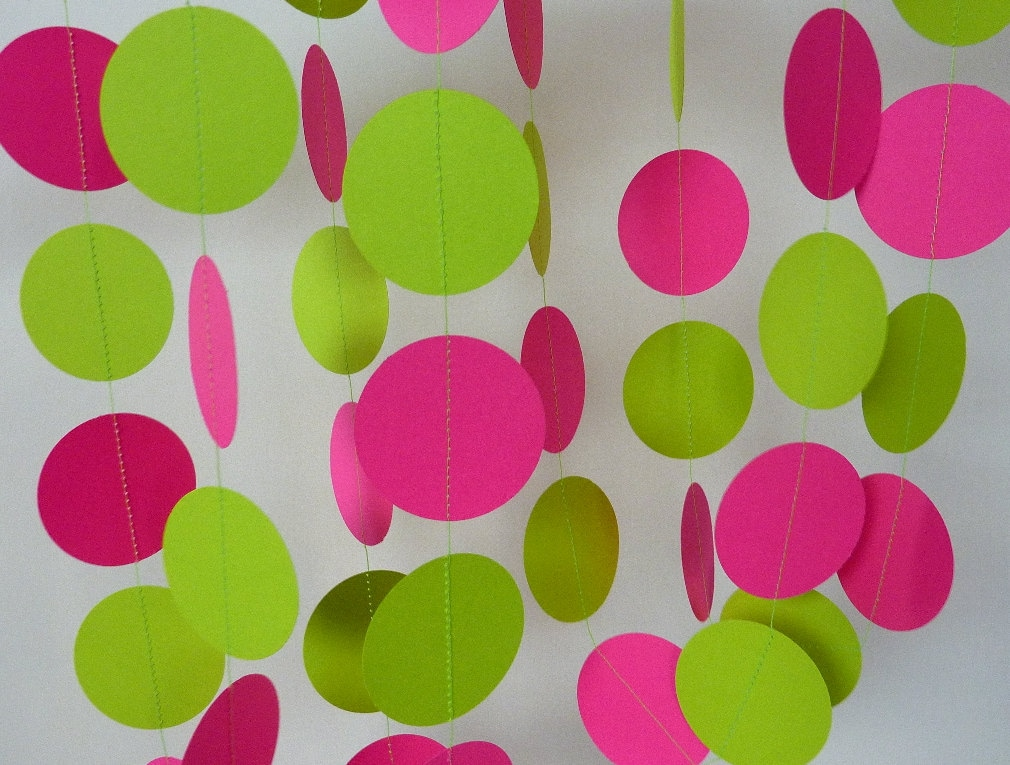 Hot Pink Chartreuse Paper Garland And Green Birthday