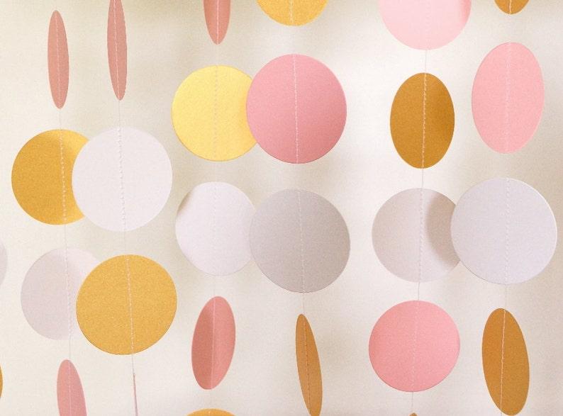 9ff6a25b0c09 Pastel Pink   Gold   White Paper Garland Pink Wedding Decor