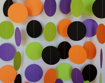 Halloween Garland, Orange, Black, Purple and Green (Chartreuse) Paper Garland, Halloween Party Decoration, 10 ft. long