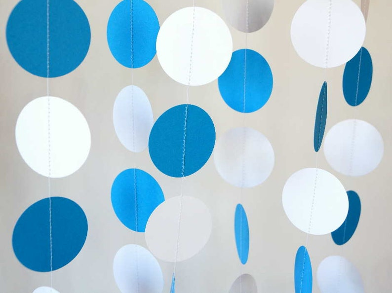 Blue And White Garland Birthday Decorations Fathers Day Etsy