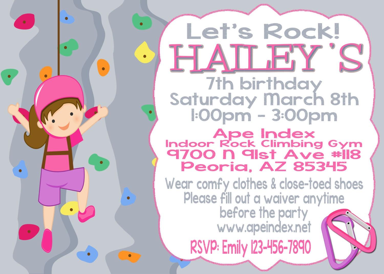 Girl Rock Climbing Party Invitation 5x7 printable digital file | Etsy